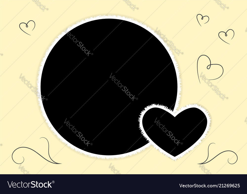 Romantic round photo frame with a heart for the