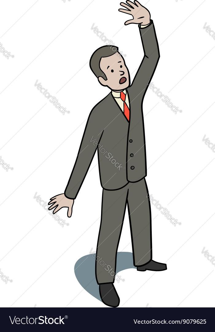 Scared businessman vector image