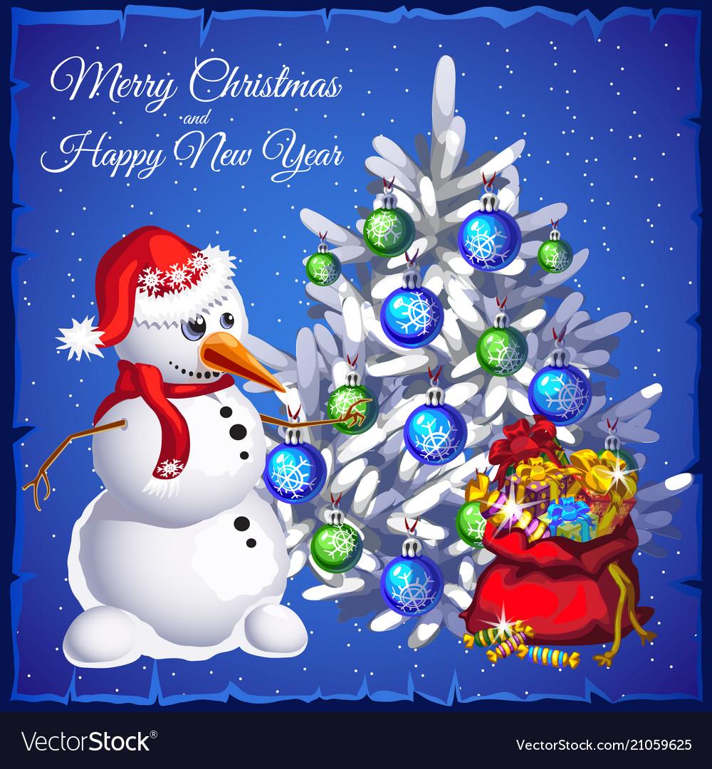 Template christmas card snowman near christmas