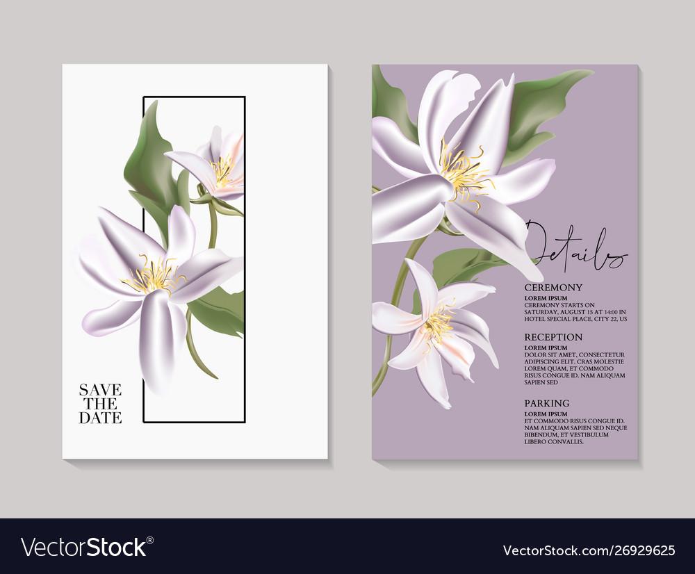 Tender botanical wedding magnlia invitation card