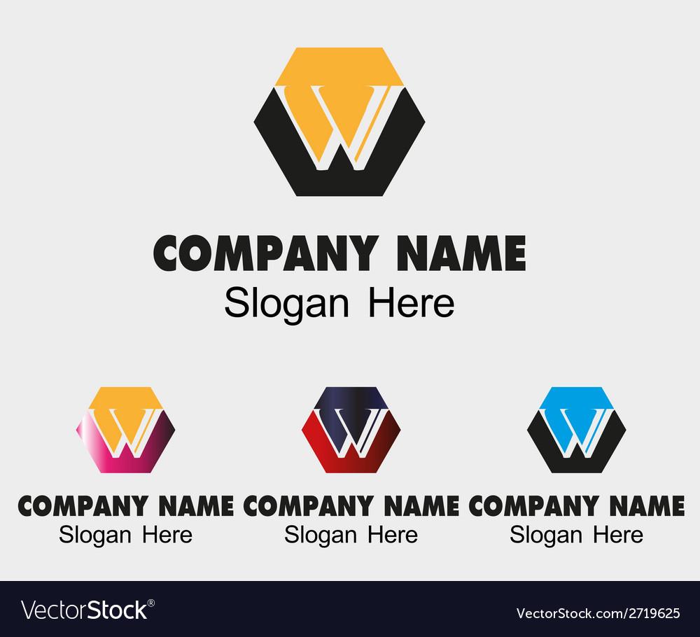 W letter logo sample template letter w vector image spiritdancerdesigns Gallery