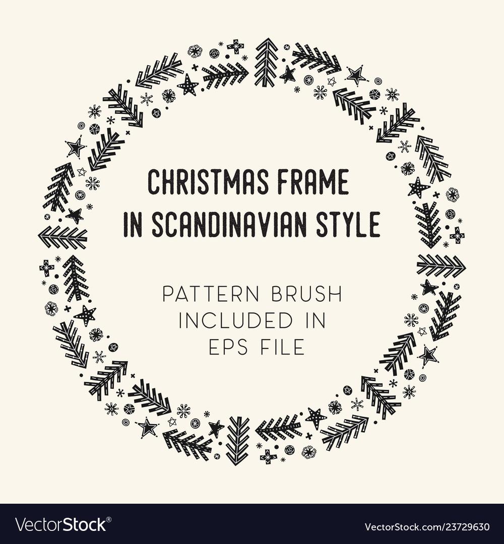 Christmas frame and brush with corner tiles
