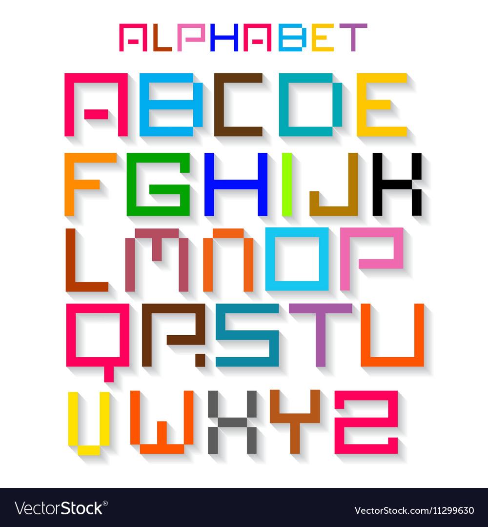 Colorful Retro Alphabet ABC Simple Digital Set
