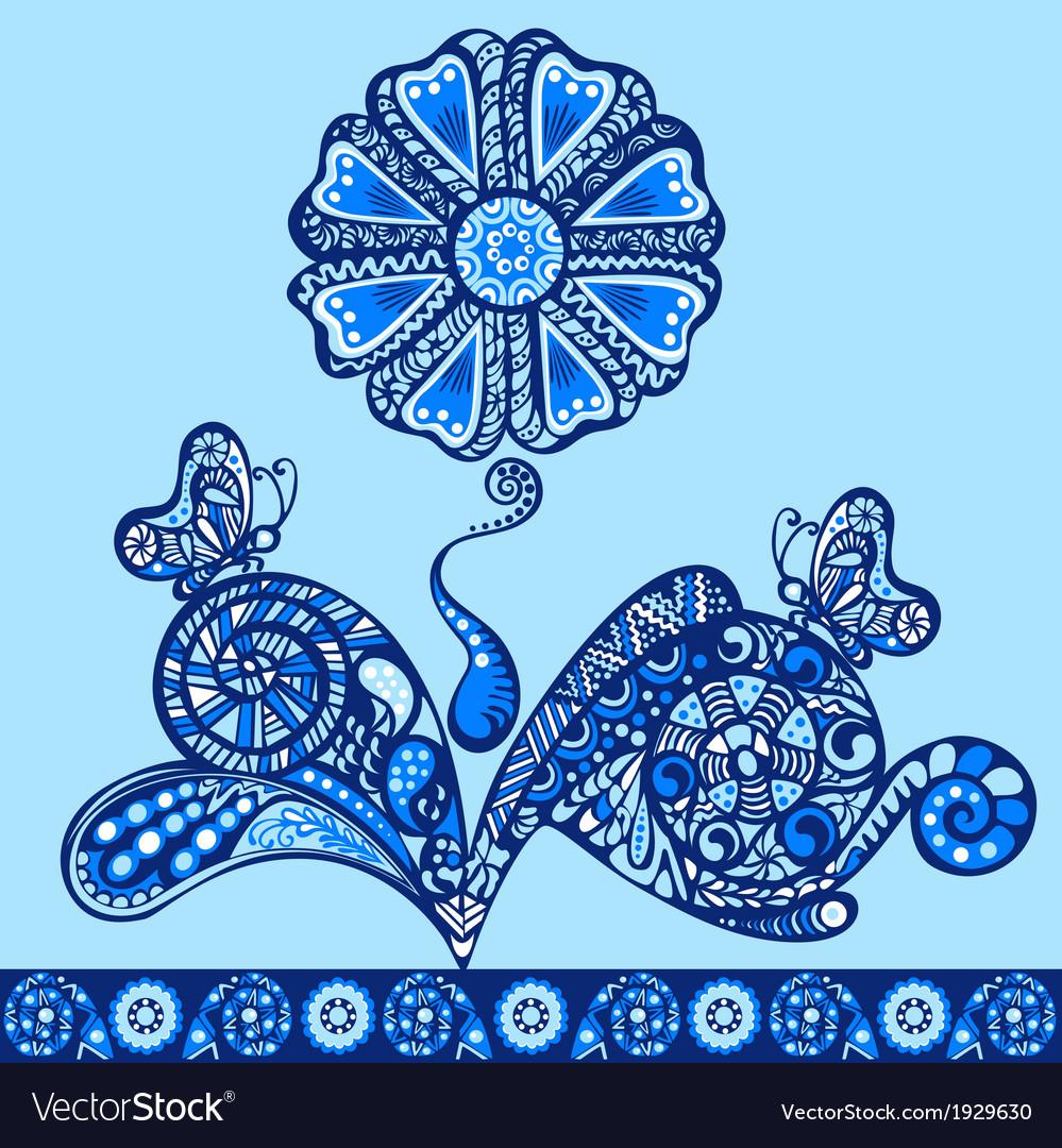 Fantasy flower pattern blue