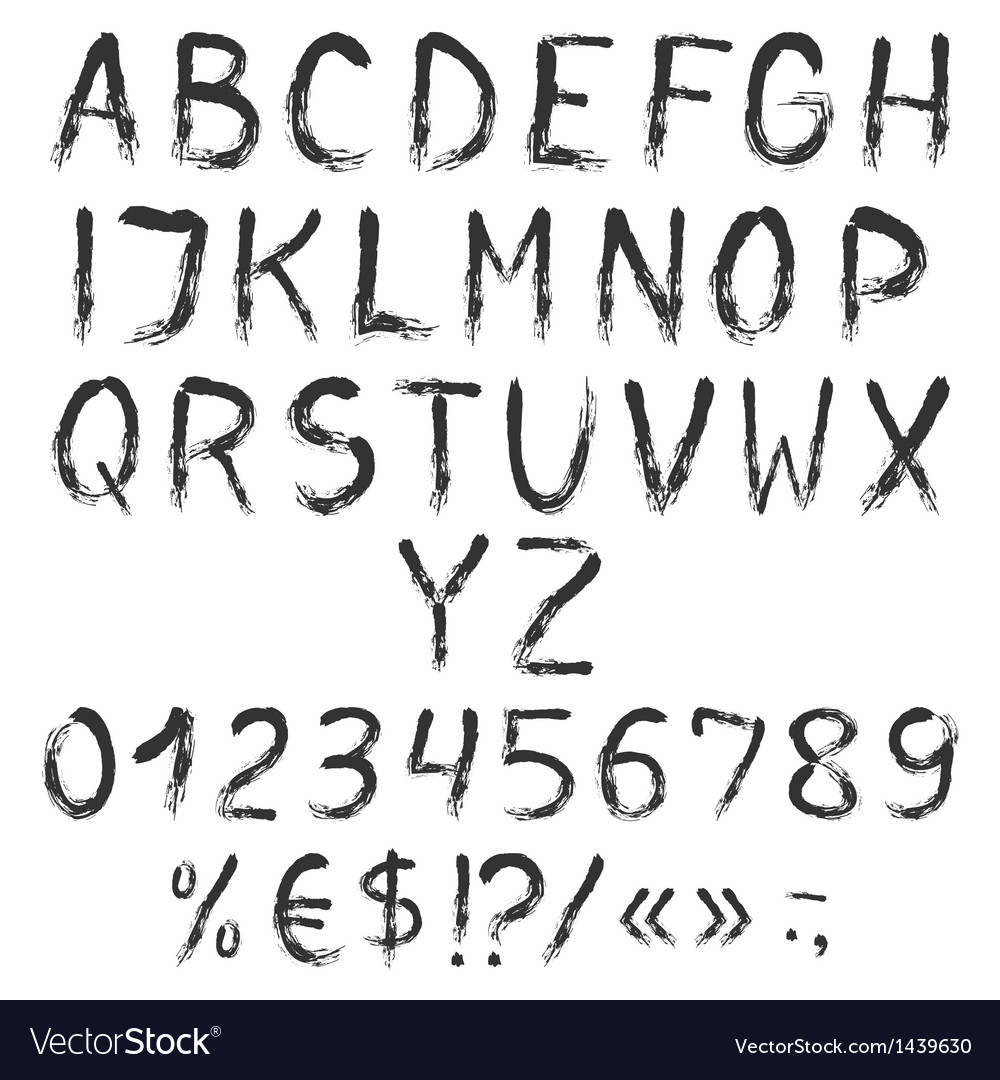 Grunge painted alphabet with numbers and symbols