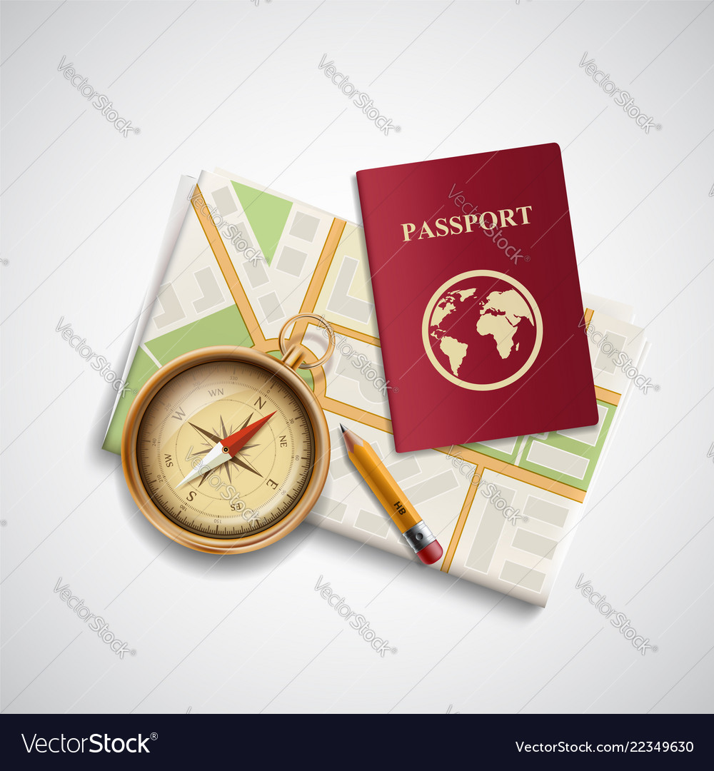 Icon city map a compass and a passport trip