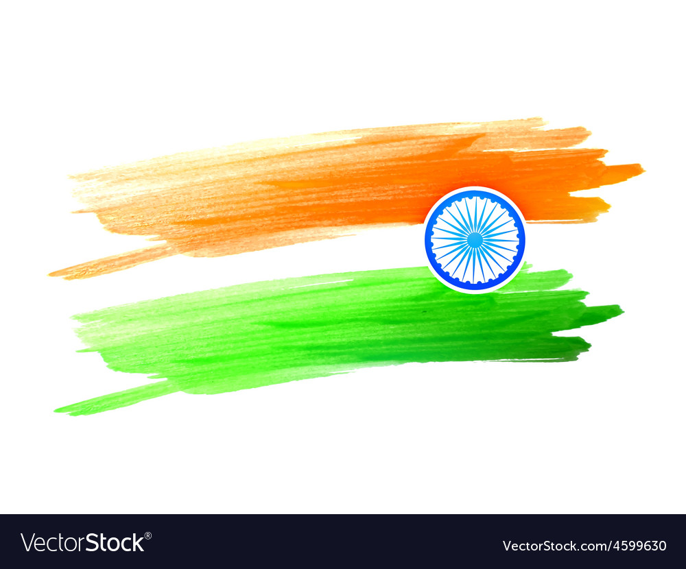 indian flag design made with color color strokes vector image