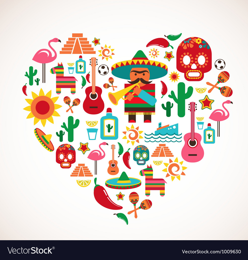 Mexico love - heart with set of icons vector image