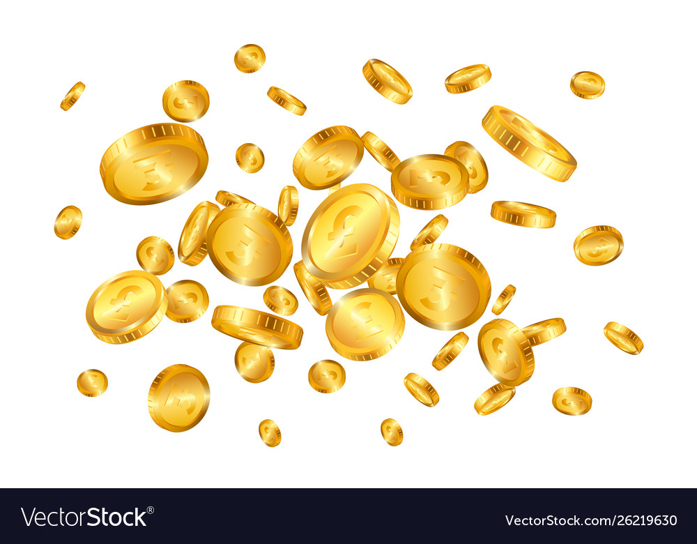 Pound gold coins explosion isolated on white