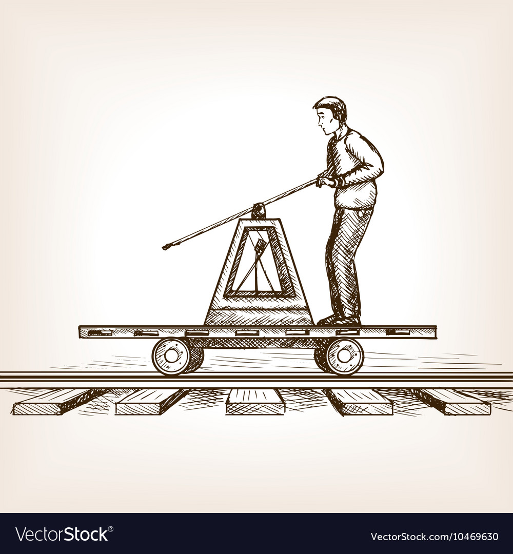 Railway draisine sketch style