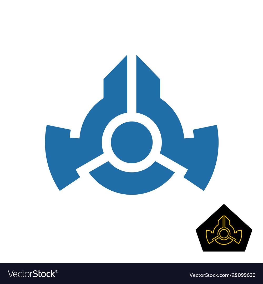 Simple space ship logo or military badge symbol