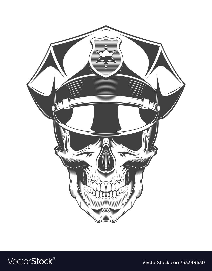 Vintage monochrome skull with police headdress