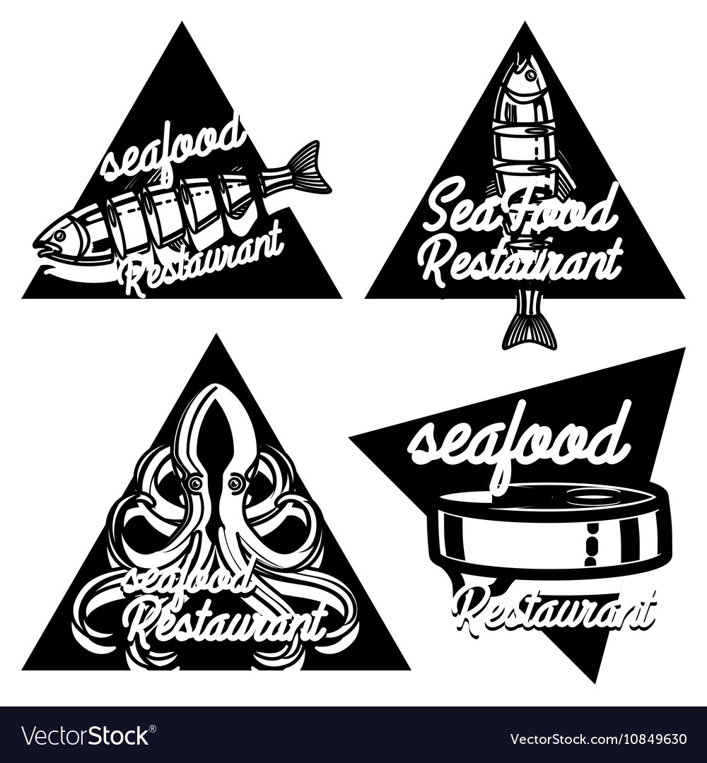 Vintage seafood restaurant emblems vector image