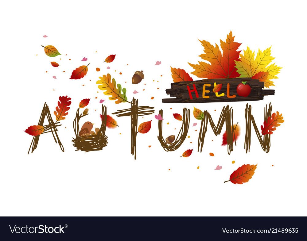 Autumn leaves card design on white background