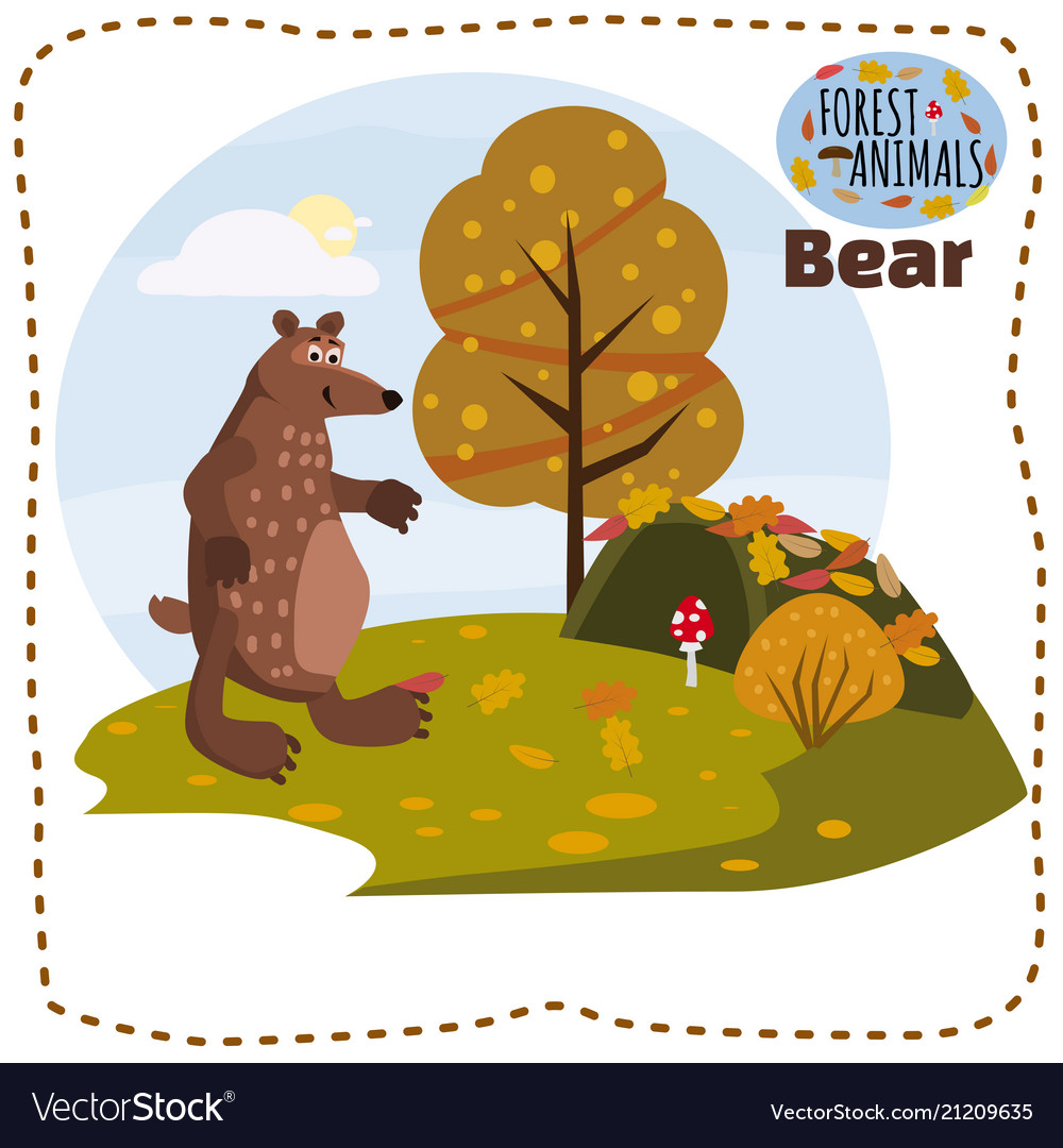 Bear cute cartoon style in background forest