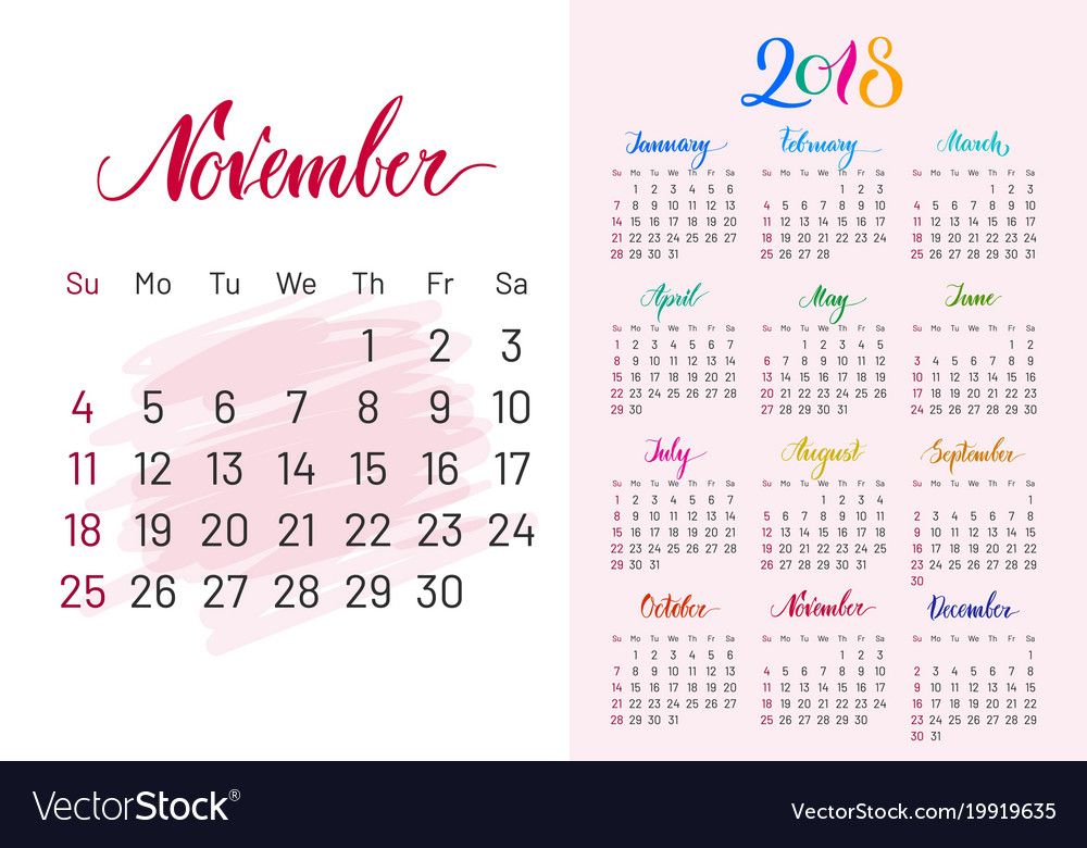 calendar 2018 november separately white pink vector image