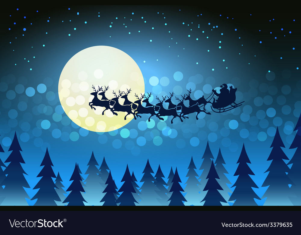 D pour Délivrer ! Christmas-background-with-santa-driving-his-sleigh-vector-3379635