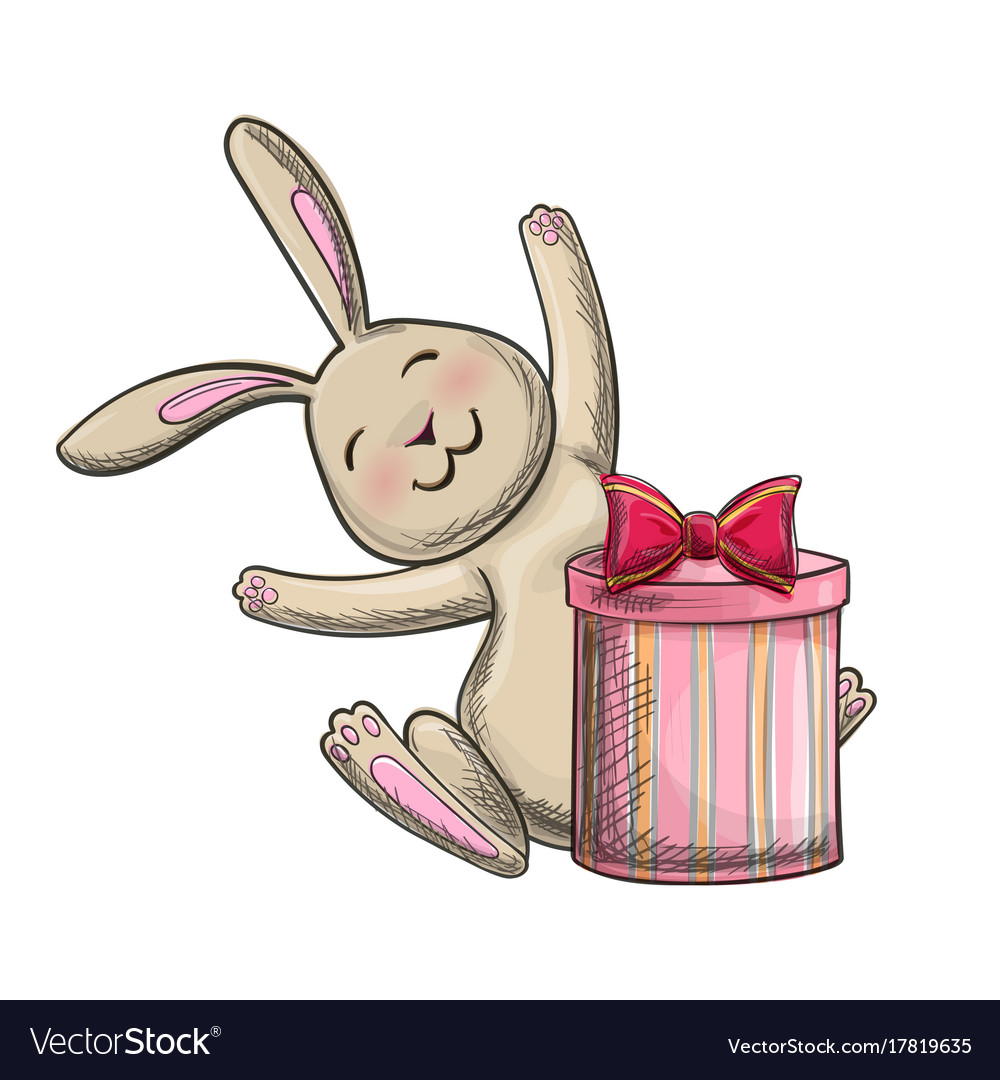 Christmas bunny with a present drawing vector image