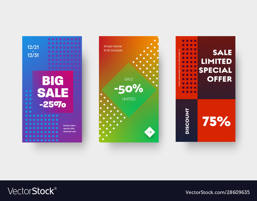 Design set color gradient banners for mobile