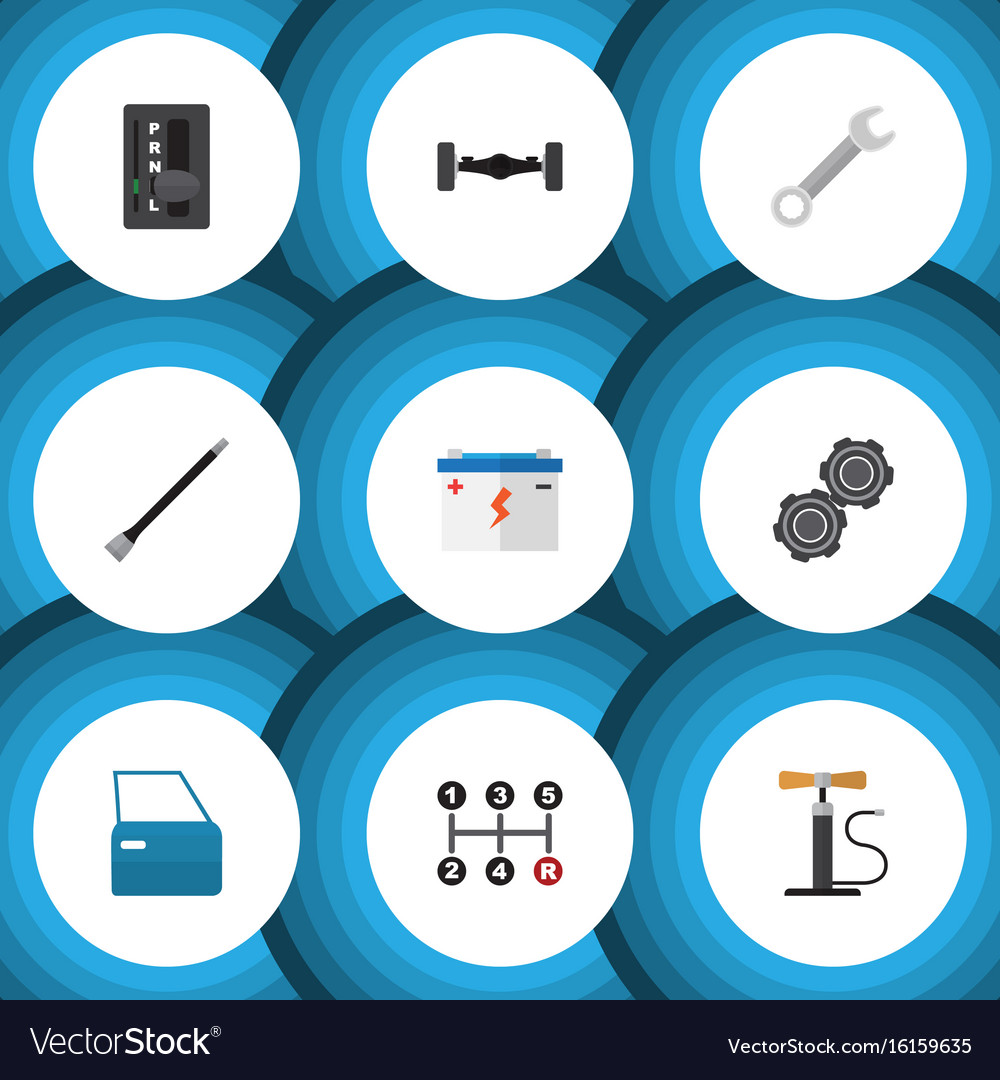 Flat icon service set of automobile part vector image
