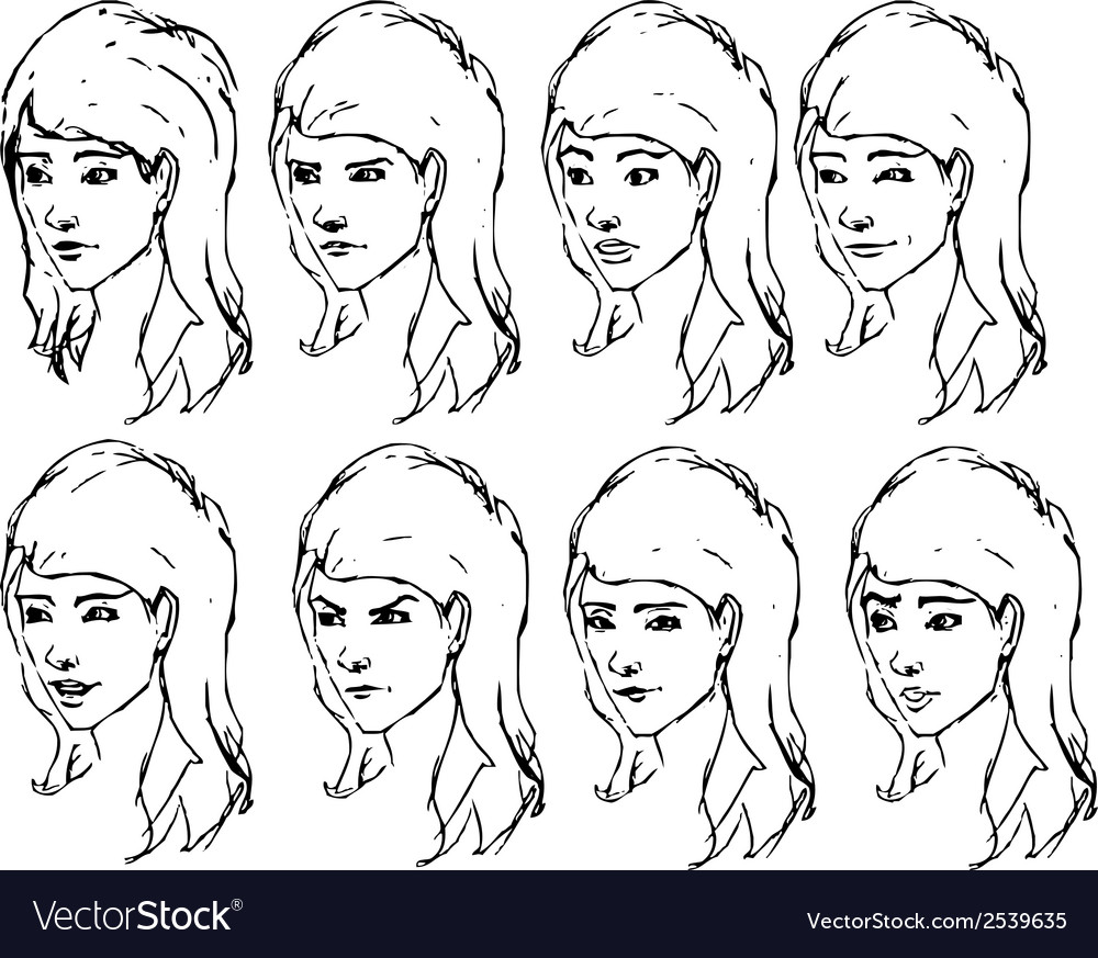 Girl Face Expressions Sketches Royalty Free Vector Image