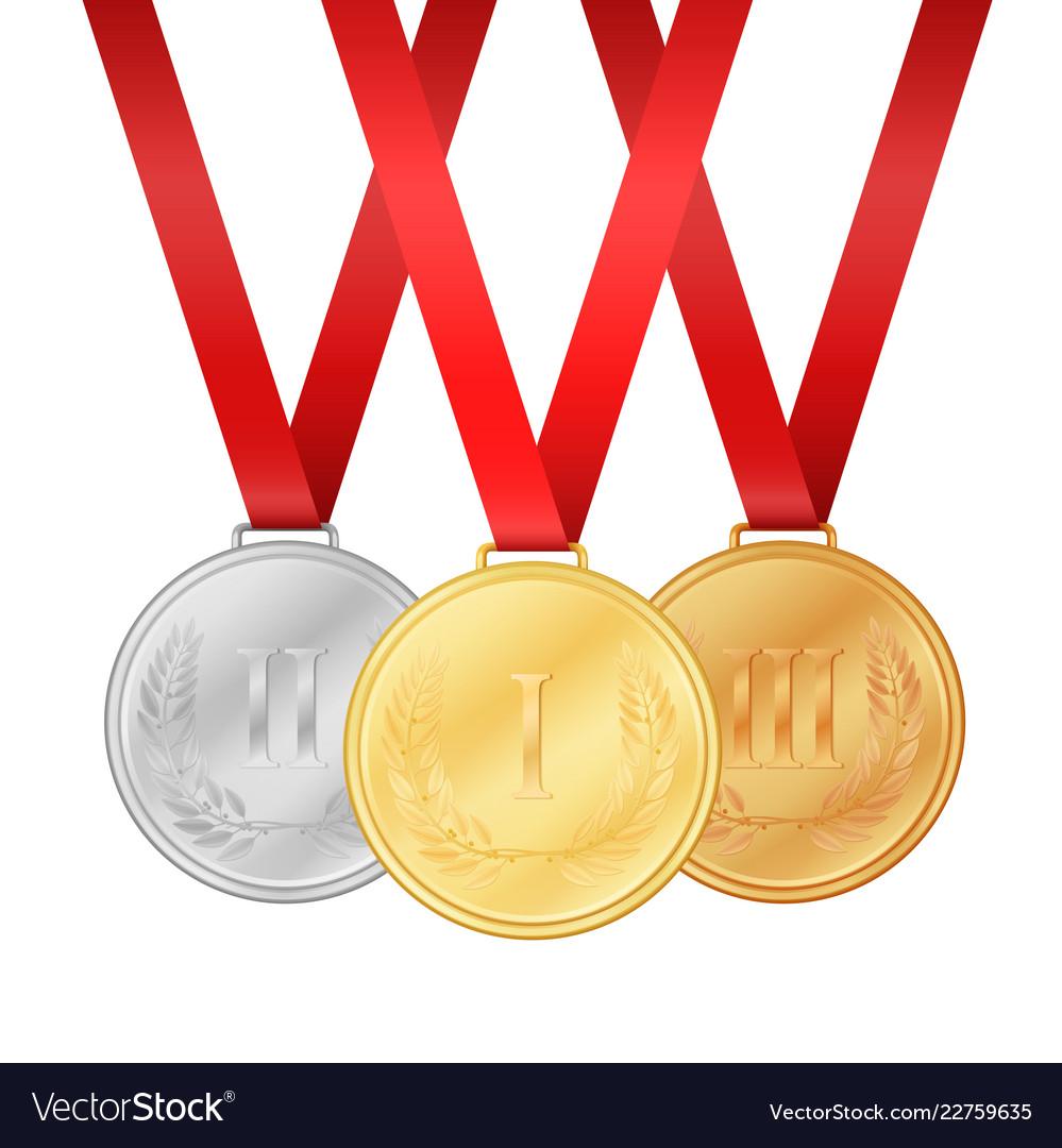 Gold medal silver medal bronze medal medals set
