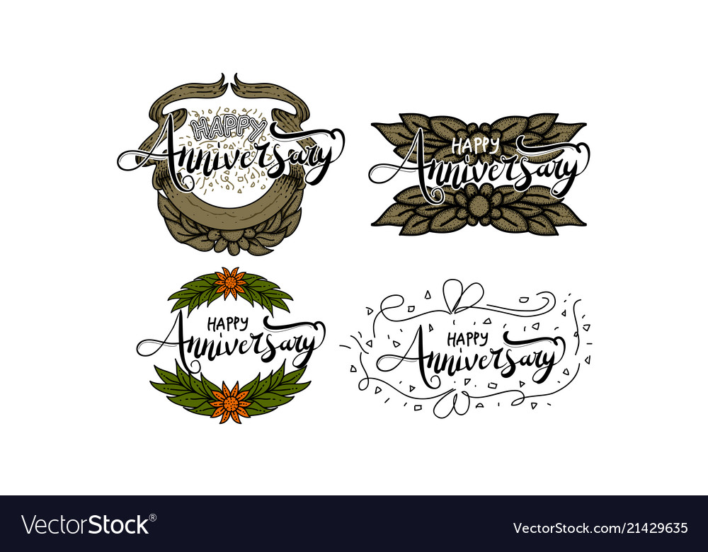 happy anniversary template set royalty free vector image