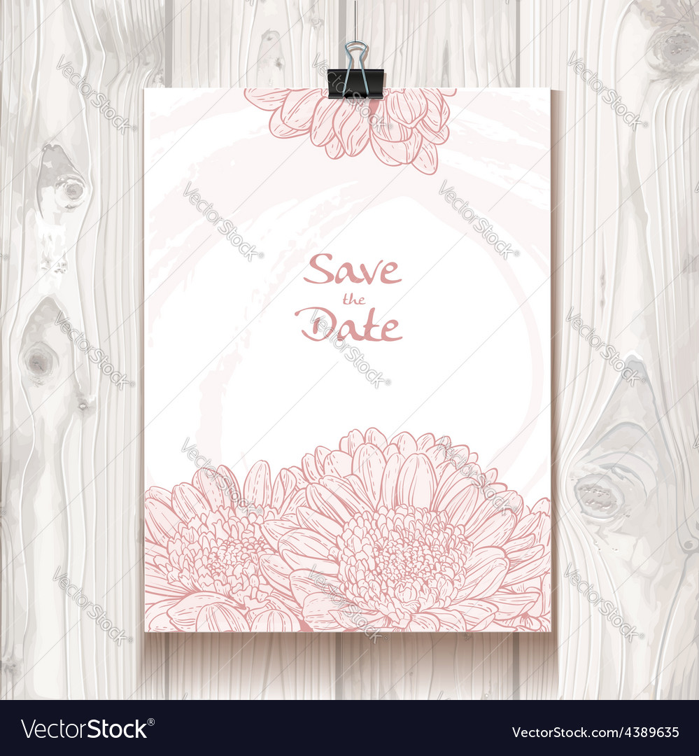 Invitation with chrysanthemum hanging on binder