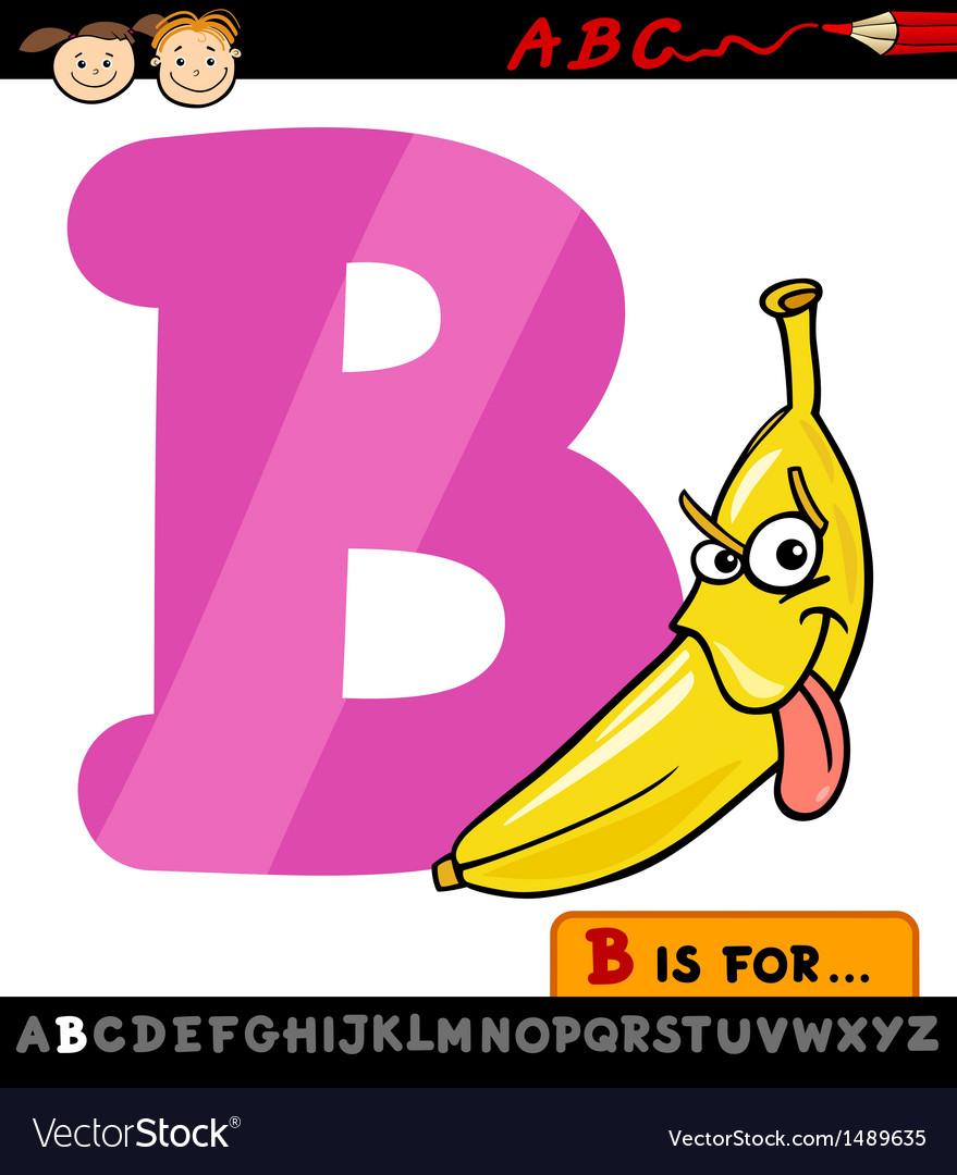 Letter b with banana cartoon Royalty Free Vector Image
