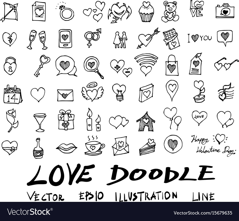 Love doodle icon set isolated hand