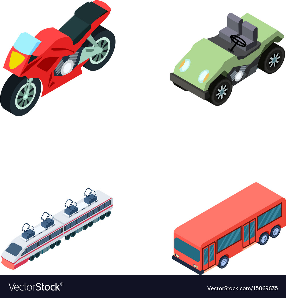 Motorcycle golf cart train bus transport set