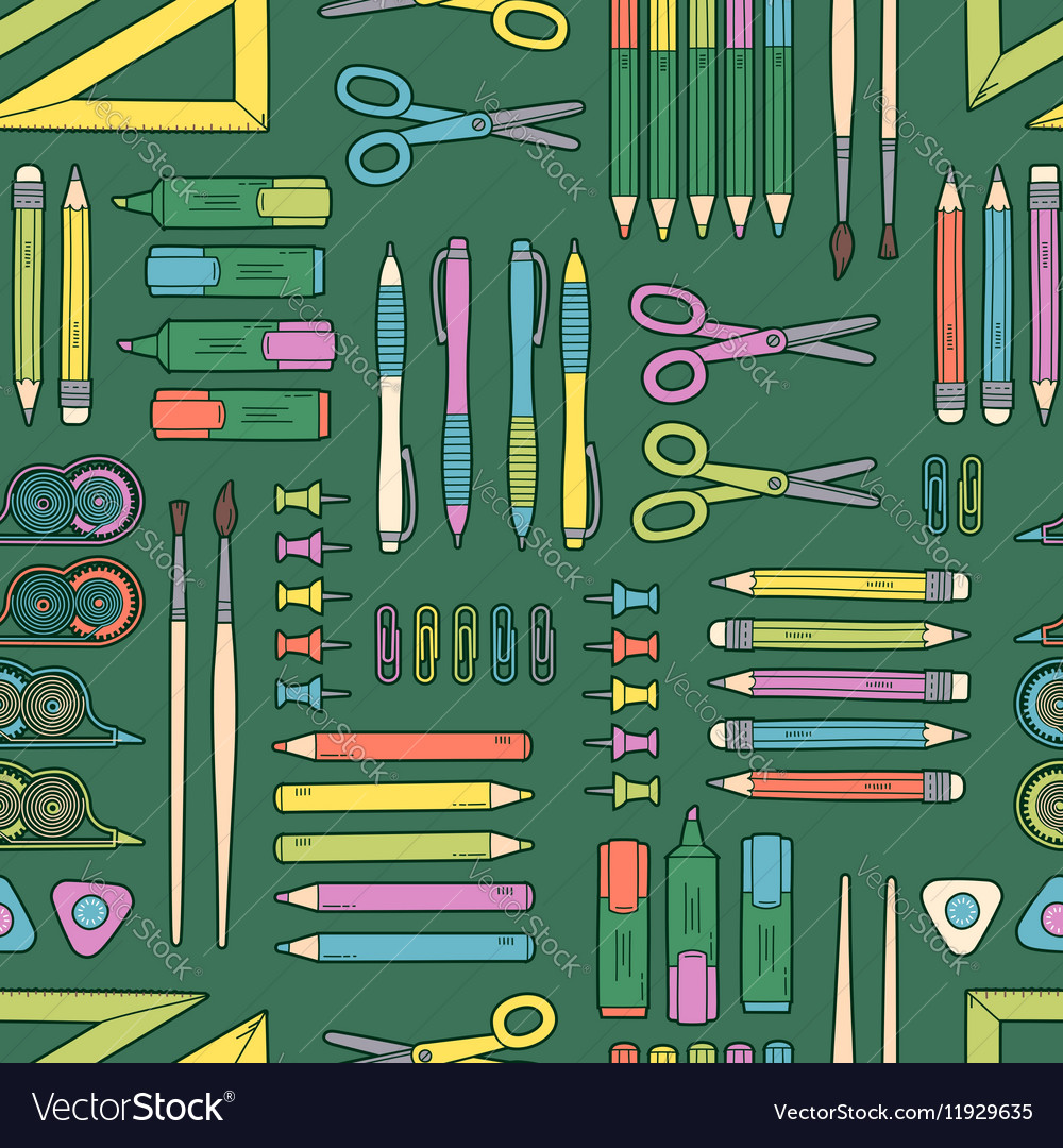 Seamless stationery pattern School and