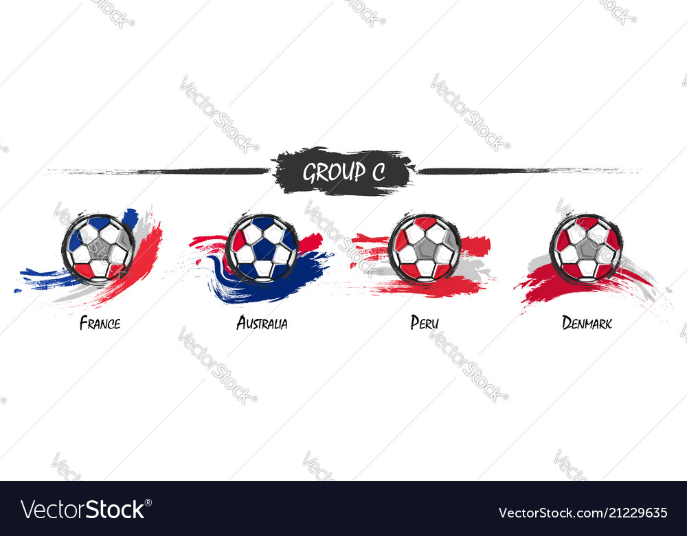 Set of football or soccer national team group c