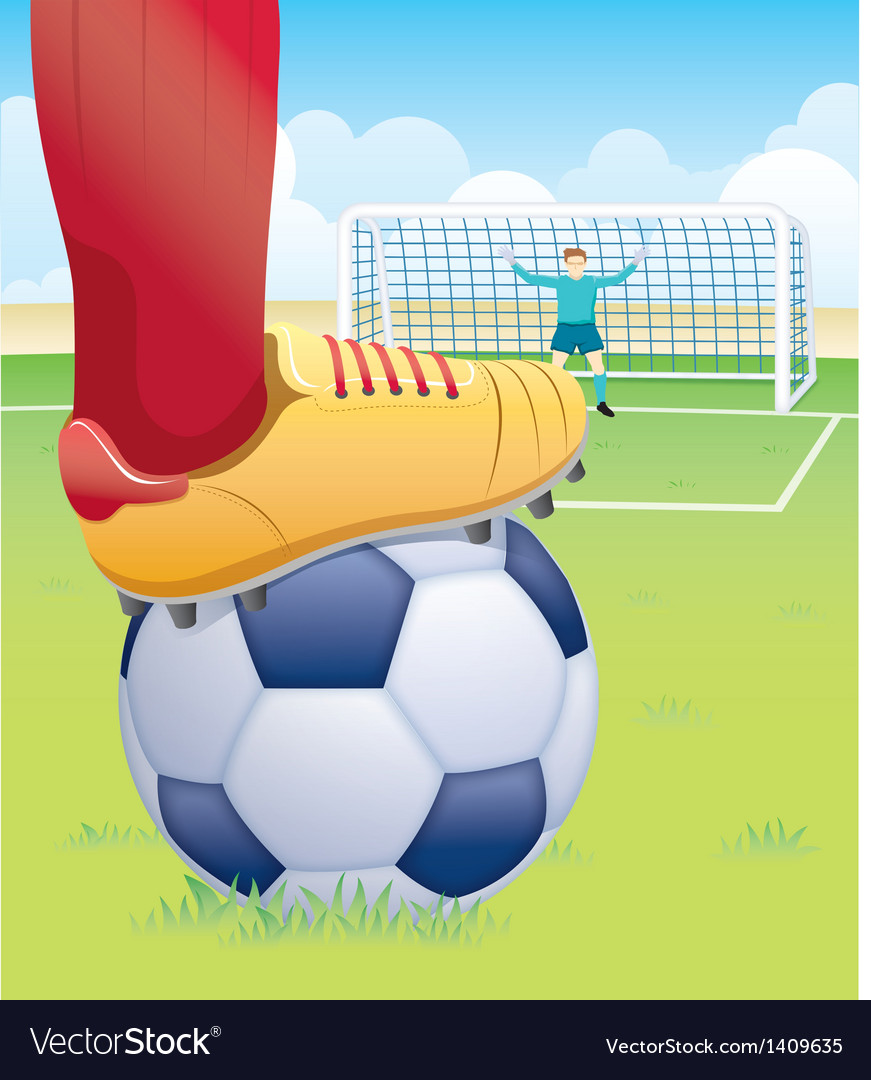 Soccer player penalty kick vector image