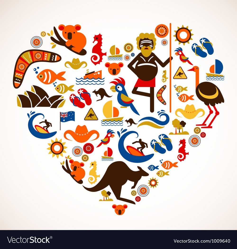 Australia love - heart with set of icons vector image