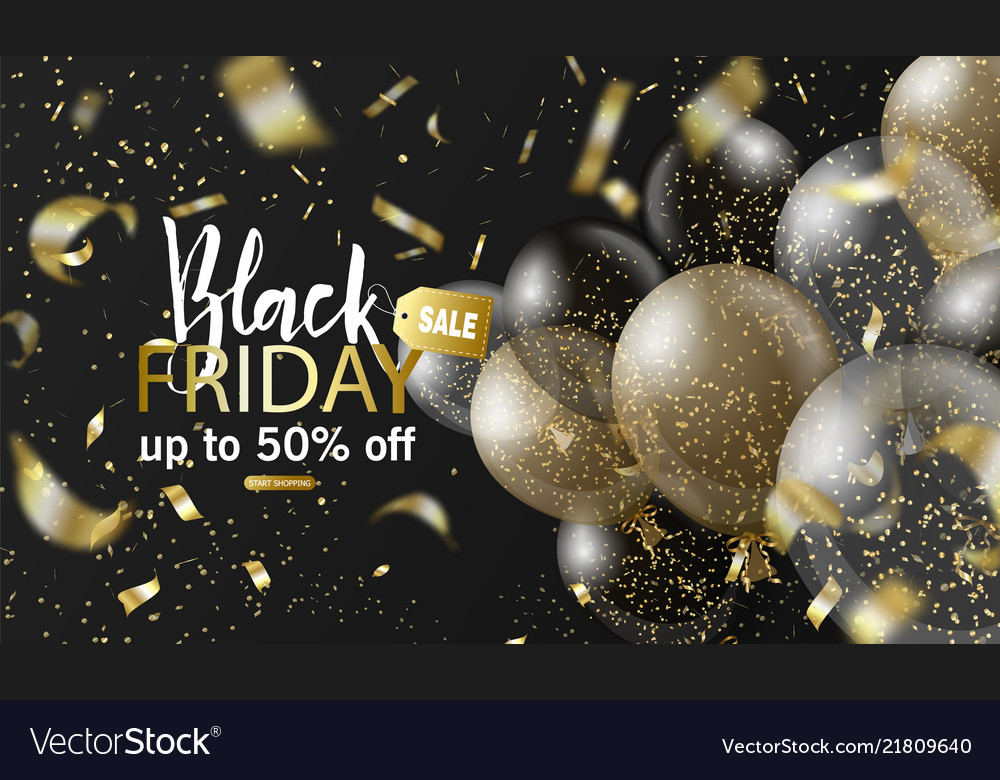 Black friday sale background with balloons and