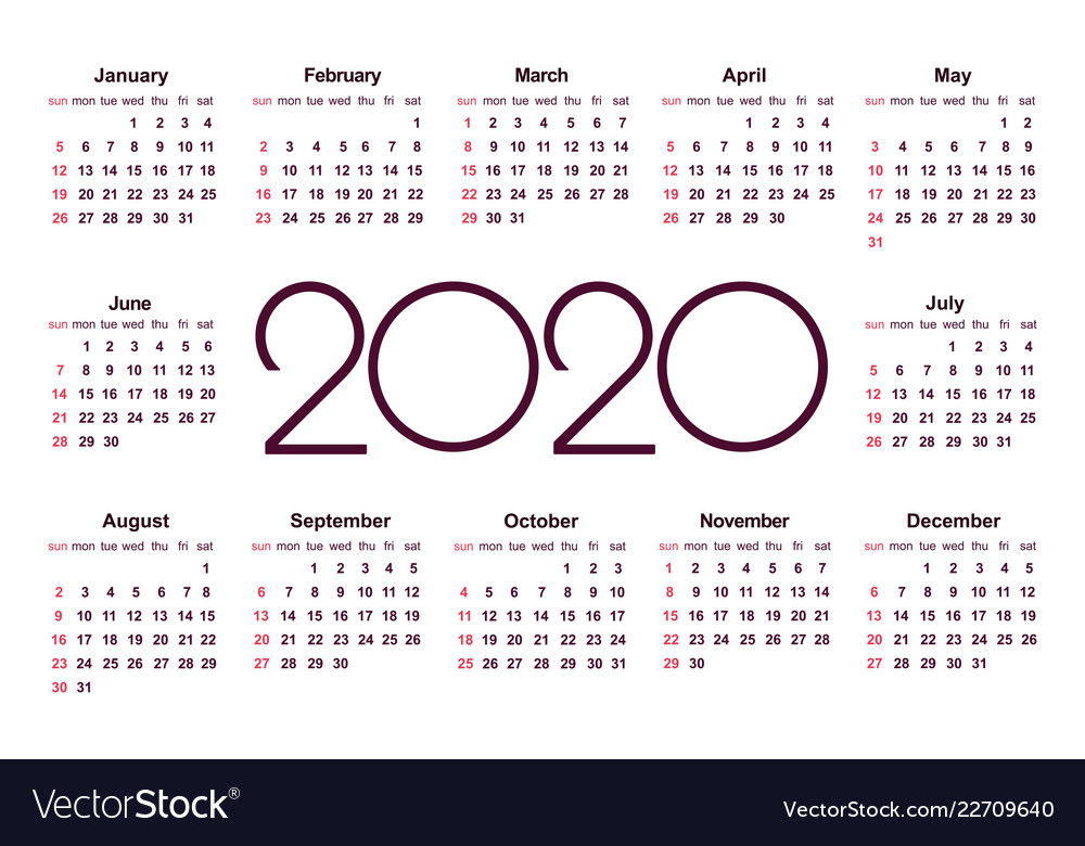 Calendar 2020 Vector Calendar 2020 year simple template Royalty Free Vector Image