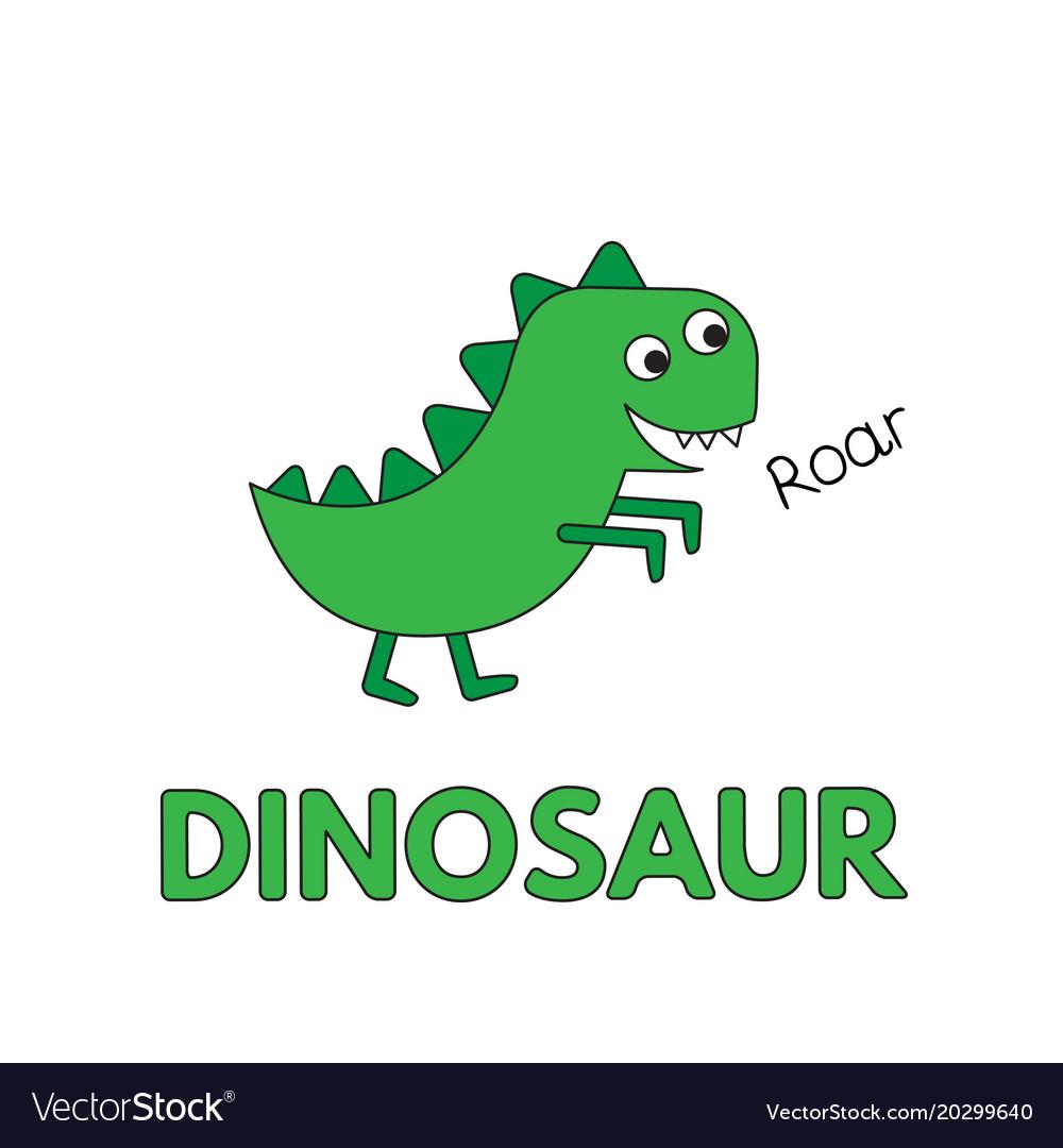 Cartoon Dinosaur Flashcard For Children Royalty Free Vector Giant Animals Image