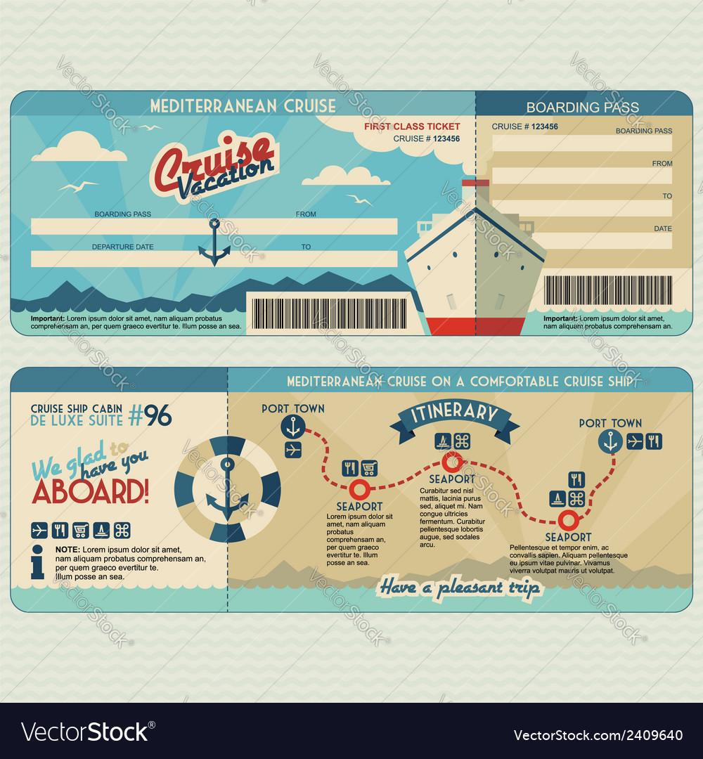 Cruise ship boarding pass design template Vector Image