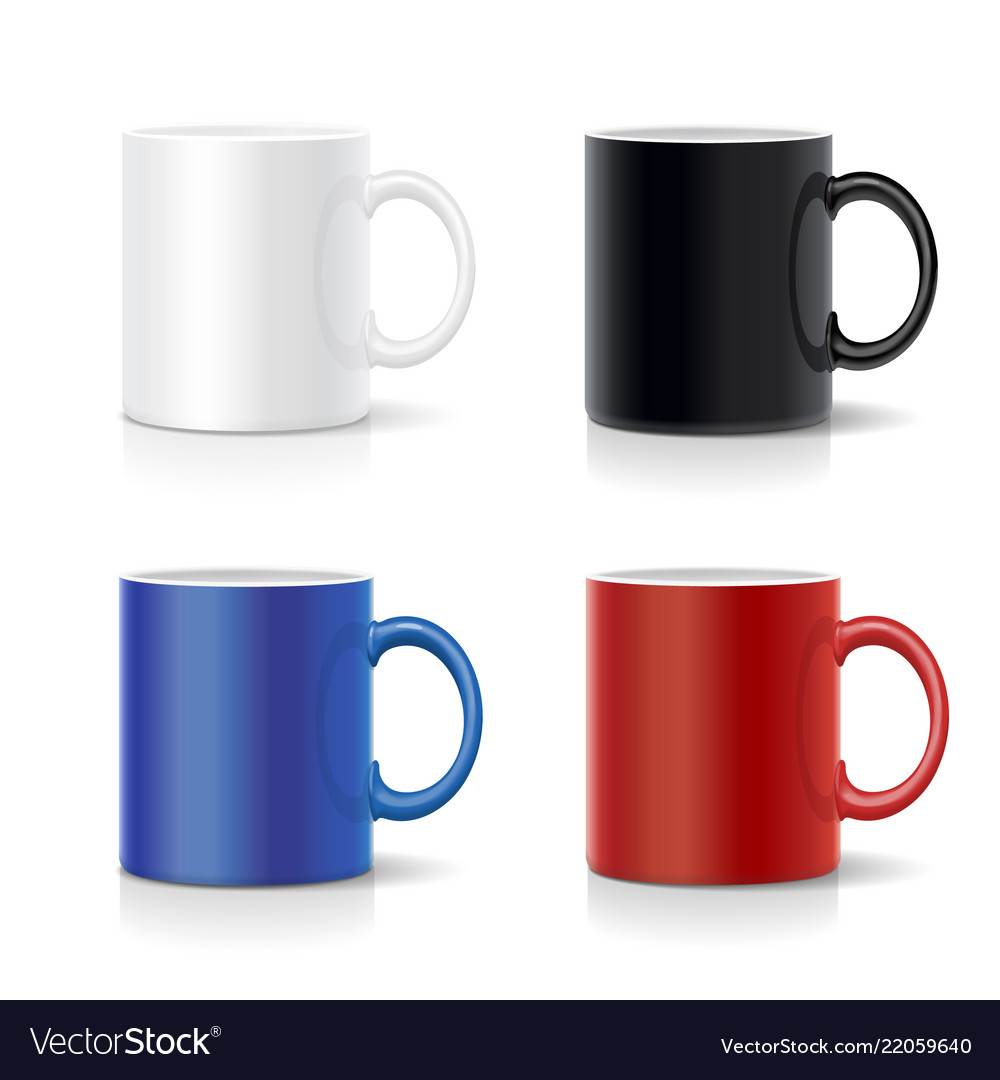 Four mugs of various colors coffee cups