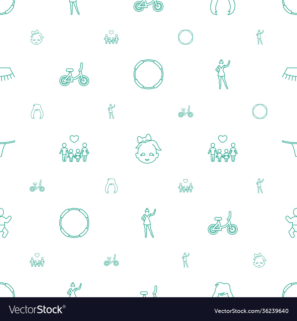 Girl icons pattern seamless white background