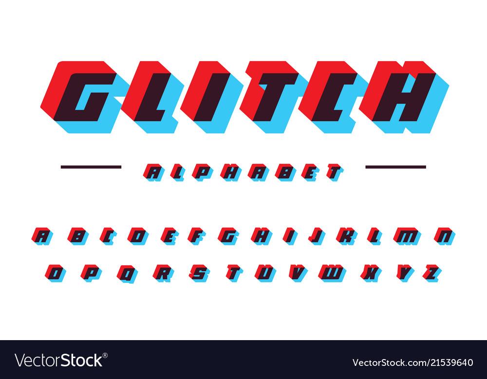 Glitch latin alphabet speed moving bold