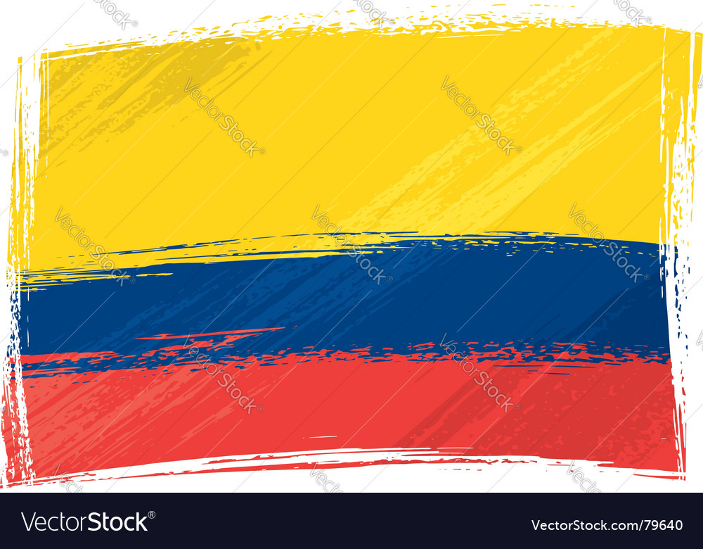 Grunge Colombia flag vector image