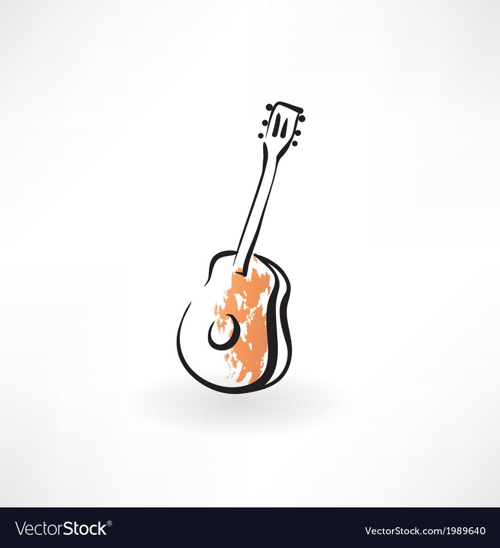 Guitar grunge icon vector image