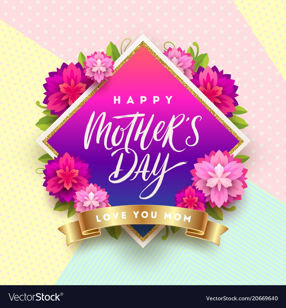 Remarkable Happy Mothers Day Greeting Card Design Vector Image Funny Birthday Cards Online Fluifree Goldxyz