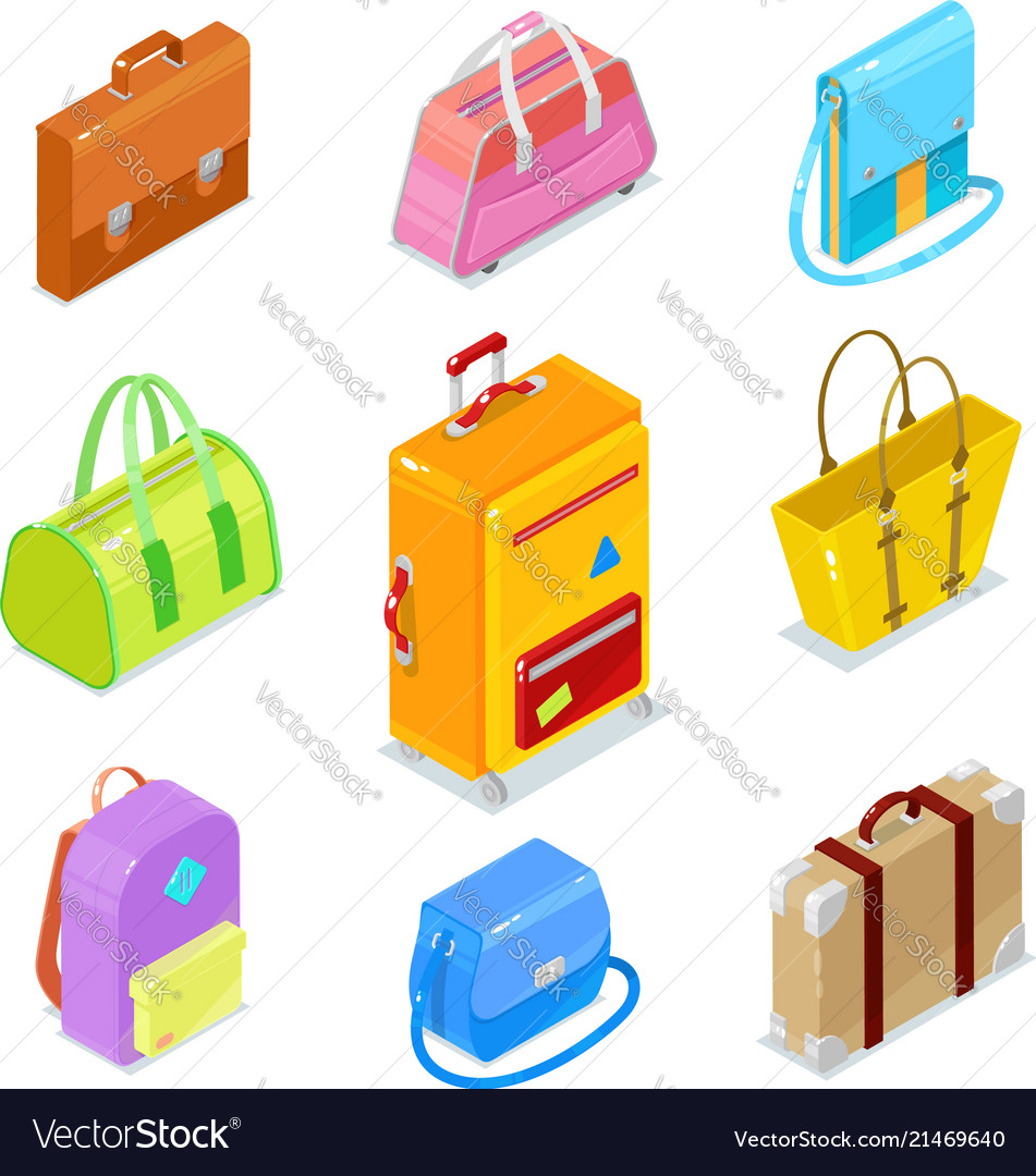 Isometric bags ans suitcases