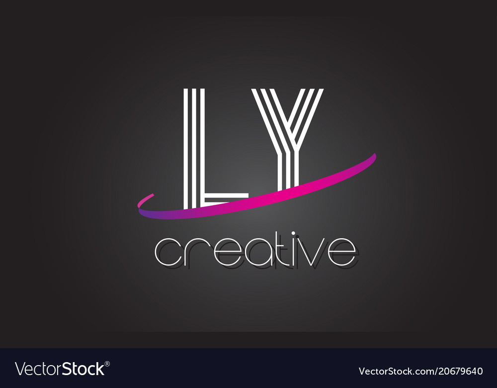 Ly l y letter logo with lines design and purple vector image