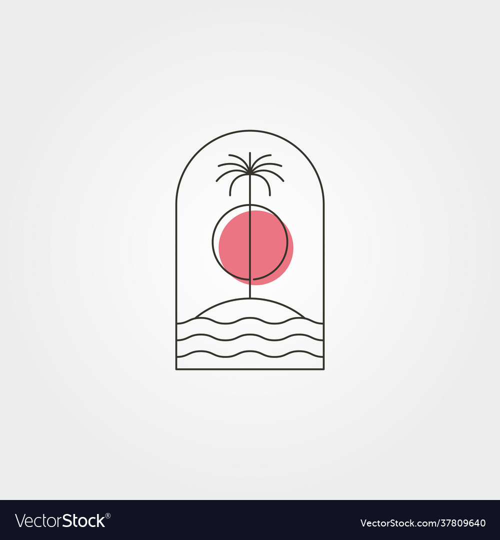 Palm tree island line logo symbol with sunset