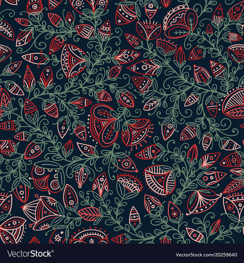 Seamless floral pattern in tribal boho ornament
