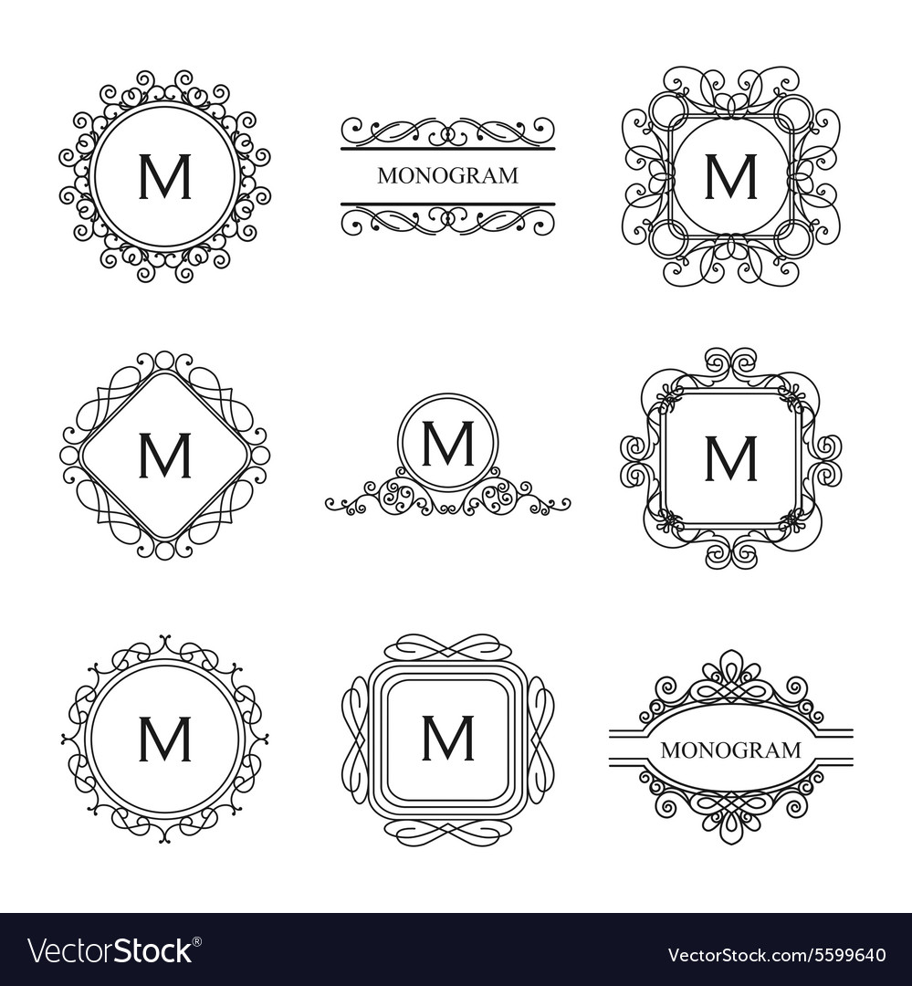 Set of outline monograms and logo design templates